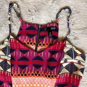 AQUA pattered mini dress, fit and flare, size XS